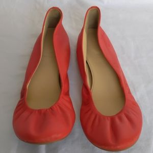 J Crew Cece Red Leather Ballet Flats, 10